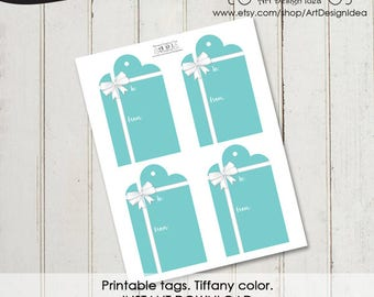 Printable tags. Tiffany color background. Tiffany tags. Labels, Tags- INSTANT DOWNLOAD. Tiffany tag.