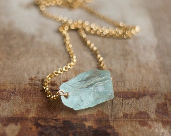 Raw Aquamarine Necklace, March Birthstone, Raw Crystal Necklace, Rough Aquamarine Jewelry, Aqua Blue Stone Necklace, Rough Stone Necklace