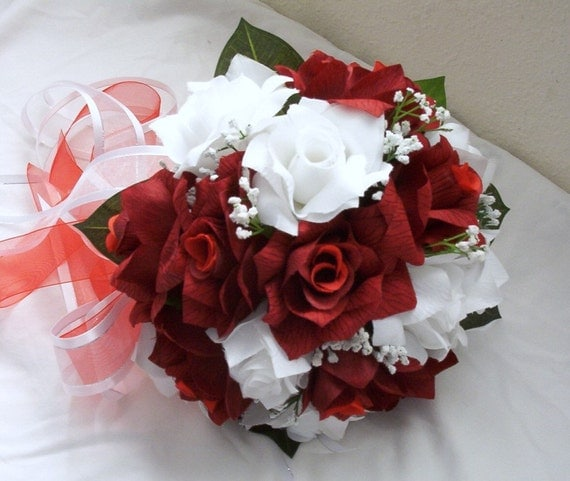 RED and white bride Silk round wedding bridal bouquet red and white 5 pcs