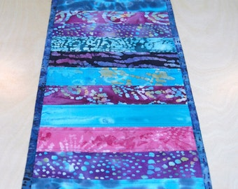 Spring Sale!  Blue and Purple Quilted Table Runner