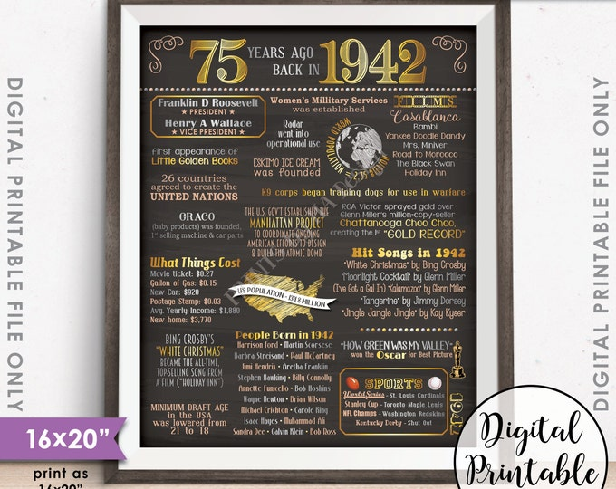 """1942 Poster, 75 Years Ago Flashback 1942 Instant Download 8x10/16x20"""", USA Back in 1942 Birthday 75th Anniversary Chalkboard Style Printable"""