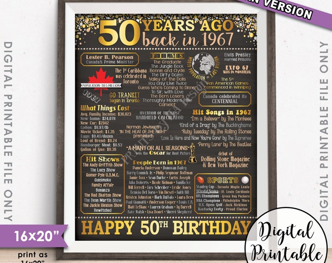 """50th Birthday Gift 1967 CANADA Flashback 50 Years Instant Download Born in 1967 50th Instant Download 8x10/16x20"""" Chalkboard Style Printable"""