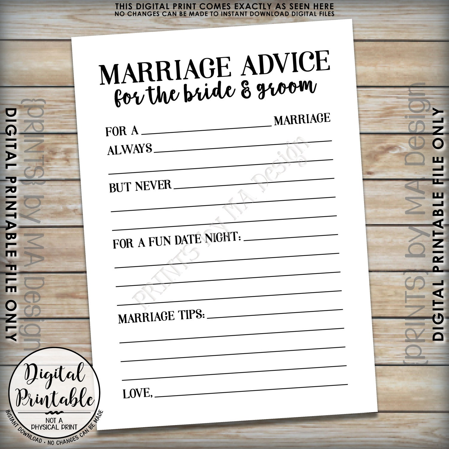Wedding Advice: Marriage Advice Cards, Bride & Groom Advice, Wedding