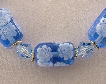 Sterling silver & Blue Millefiori glass beaded necklace