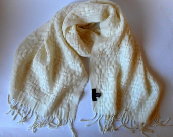 Vintage  Cole Haan Scarf, Wool Scarf, White Scarf, Made in Italy