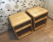 Bedside  End Tables ( pair ) Handmade from Reclaimed wood  Finished and polished with Antique Pine coloured Beeswax