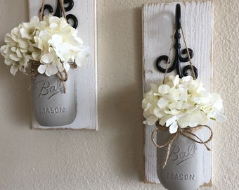 Set of 2,Mason Jar Wall Decor,Country Chic Wall Decor,Hanging Mason Jar Sconce,Mason Jar Decor,MasonJar Wall Sconce,Housewarming Gift,Rustic