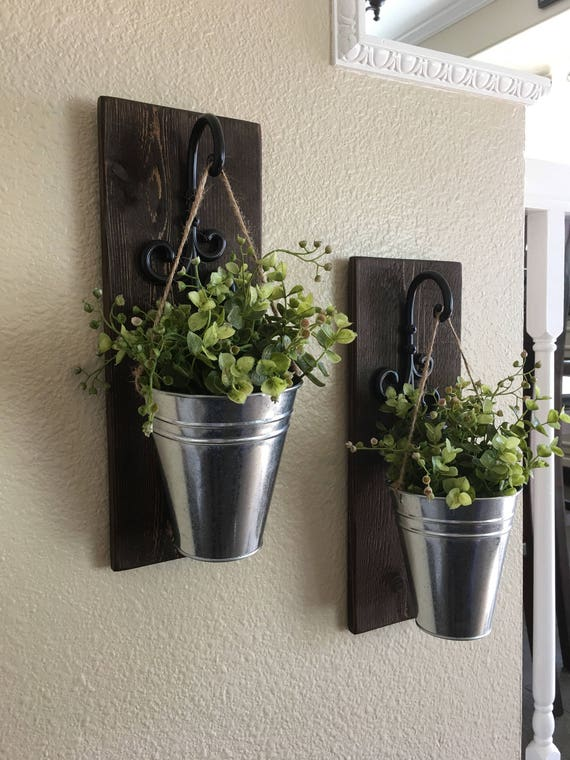 Decorative Wall Sconces For Plants : Galvanized Metal Decor Metal Wall Decor Sconce with Flowers