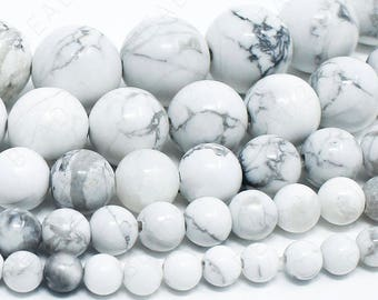 "White Howlite Beads Natural Gemstone Round Loose - 4mm 6mm 8mm 10mm 12mm - 15.5"" Strand"