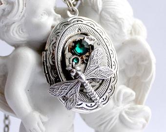 Steampunk dragonfly swarovski green locket