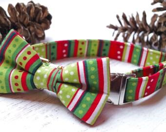Ready to Ship Christmas Dog Collar with Bow - Christmas Dog Bow Tie Collar - Dog Collar Bow Tie - Fabric Dog Collar