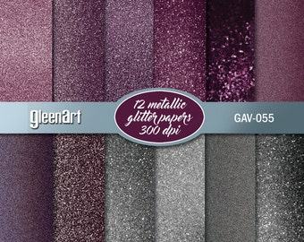 50% Off Sale - Wedding's purple glitter paper/Metal purple paper/Silver/Digital paper pack/Printable glitter background/INSTANT DOWNLOAD