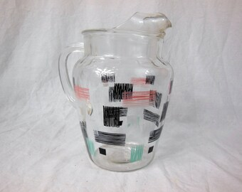Vintage Atomic Age Federal Glass Pitcher - Aqua - Pink - Black - White - Midcentury