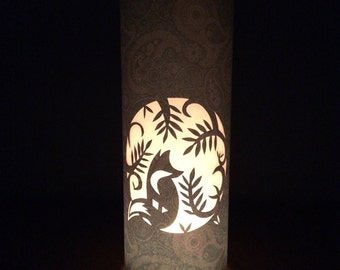 Fox in the woods. Beautiful, paper cut candle shade.
