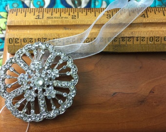 Rhinestone Flower Pendant on Ribbon