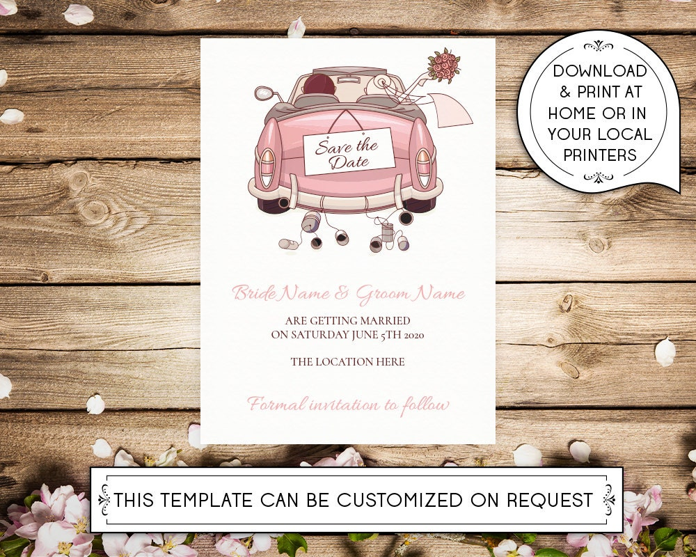 diy printable 5x7 save the date invitation template car. Black Bedroom Furniture Sets. Home Design Ideas