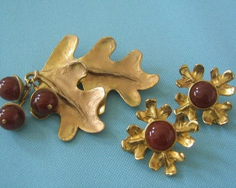 Carol Dauplaise Oak Leaf and Acorn Brooch and Clip Earring Set