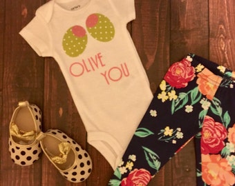 Olive You (I Love You) Sweet Infant Bodysuit/ Baby Onesie/ Toddler Tee Shirt