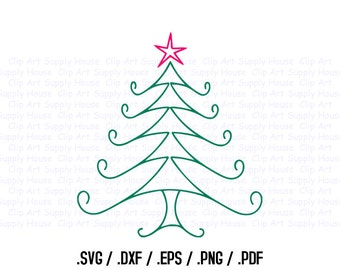 Christmas Tree Clipart, Winter Christmas Wall Art, Tree SVG File for Vinyl Cutters, Screen Printing, Silhouette, Die Cut Machines - CA378