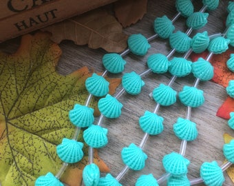"""1 Strand  Sky Blue 15"""" Plastic  Seashell Shape Spacer Charms Loose Beads DIY Supplier For Handcarfts Bracelets"""