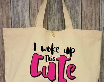 I woke up this cute, cotton bag XL natural