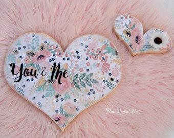 You & me - floral wood heart cutout