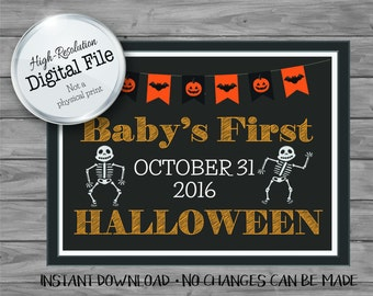 Baby's First Halloween Sign, Halloween Printables, Photo Propm Instant Download, Digital File
