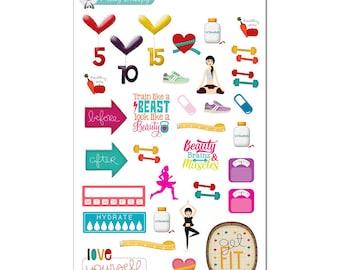 Fitness Planner Stickers Sampler