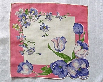Pretty Handkerchief, White Linen with Purple Tulips and Pink Border, Vintage