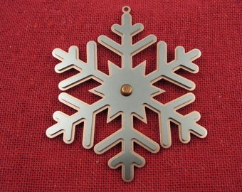 Snowflake Mixed Metal Riveted Christmas Ornament, Christmas Ornaments, Christmas Decoration, Christmas Decor, Tree Ornament, Laser Cut