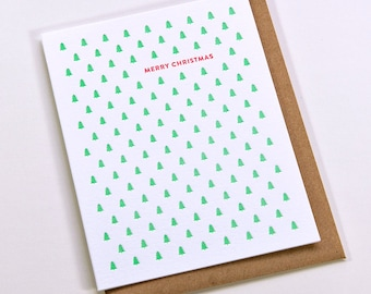 Holiday Card - Merry Christmas Small Tree Pattern // Letterpress