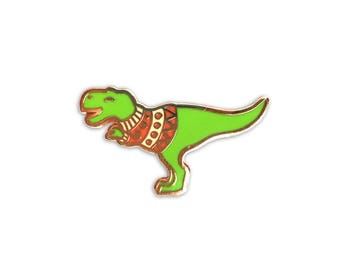 Green Sweater Dino enamel pin (hard enamel christmas pin xmas jumper t rex dinosaur pin holiday lapel pin badge dinosaur pin backpack pins)