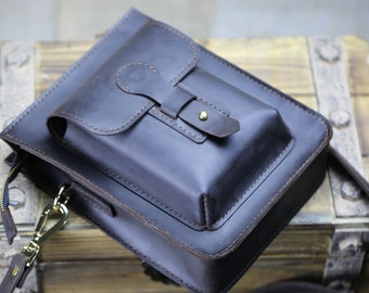 Leather messenger bag, Leather crossbody bag, Leather travel bag