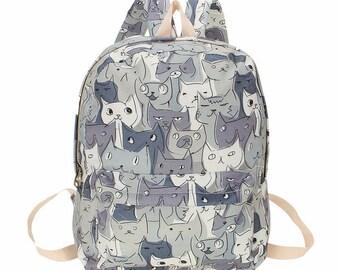 Grey Cat Print Canvas Bag