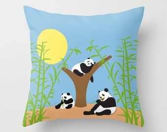 Panda bears pillow cover-Bamboo cushion-Cool kids pillow-Colourful-Designer decor-Kids room-Nursery-Animals 16x16-Owls 18x18 pillow-20x20