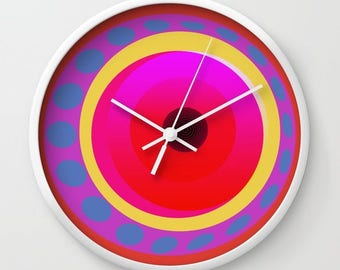Geometrical circles wall clocks-Kitchen clock-Cool office clock-Psychedelic wall clock-Decorative clock-Modern Colourful clock-Mid century
