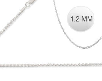 """Italian Solid Sterling Silver Fancy Rope Chain 030 - 1.2MM ( 22"""" inches long)"""