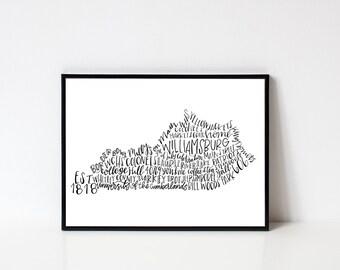 Hand lettered WILLIAMSBURG Kentucky Word Art Print // 8x10