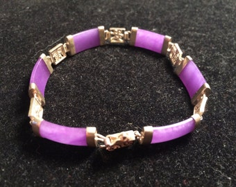 925 sterling silver chinese good luck characters with purple jades bracelet