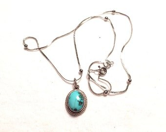 925 sterling silver necklace with turquoise