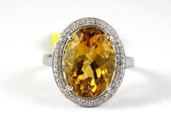 Fine Oval Orange Citrine Solitaire Ring w/Diamond Halo 14k White Gold 6.63Ct