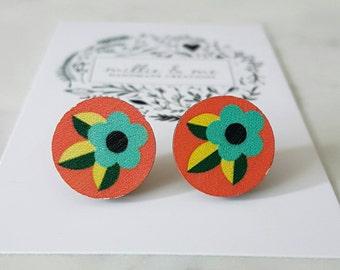Retro wooden flower stud earrings