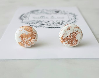 White clay and copper stud earrings/ clay earrings/ polymer clay jewellery/ clay earrings/ copper earrings/ copper