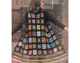 "Women's Boho Vest Crochet Pattern Vintage 70s Granny Square Waistcoat Hippie Bust 34 to 36"" PDF Instant Digital Download SKU 12-1"
