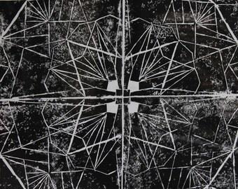 Linocut large FORMAT mandala framed / original / mandala pattern / 50 x 40 cm / Buddhist / zen / art / decor