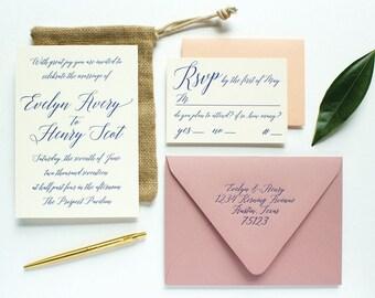 Evelyn Collection No. 8: Graceful Script Letterpress Wedding Invitation Suite