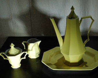 Vintage Independence Ironstone Interpace Coffee Set Bright Yellow 6 Pieces Mid-Century    01245