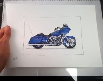 Harley Davidson Roadglide - Fine Art Print | Motorcycle Art | Motorcycle Illustration