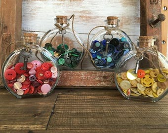 Instant Collection Antique buttons in a corked glass jar, Antique Sewing Buttons, Genuine Vintage Buttons Large Assorted Lot, sewing decor