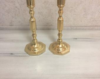 Brass baldwin candlestick set
